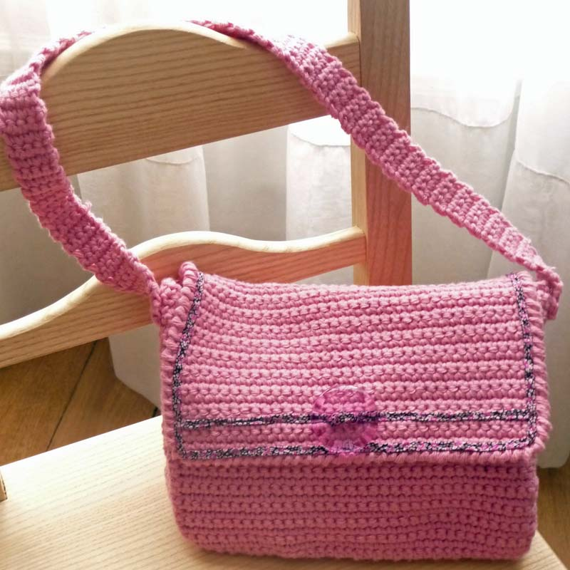 petit sac rose au crochet petite sittelle. Black Bedroom Furniture Sets. Home Design Ideas